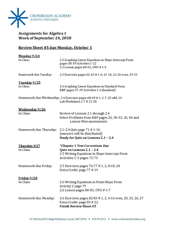 Algebra Assignments- 9 24 18 - Crossroads Academy