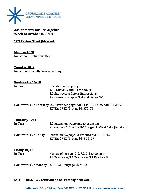 Pre-Alg Assignments- 10 08 18 - Crossroads Academy
