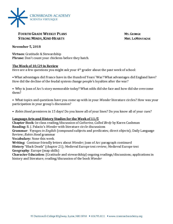 Weekly Update 11 5 18 - Crossroads Academy