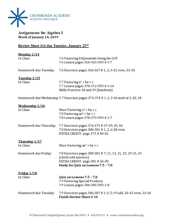 Alg Assignments- 01 14 19 - Crossroads Academy