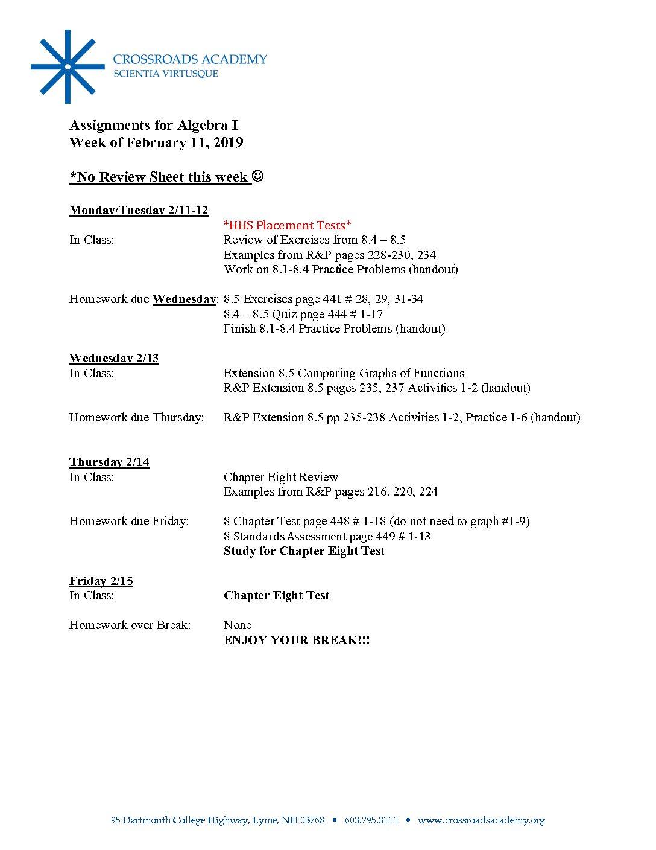 Alg Assignments-02 11 19 - Crossroads Academy
