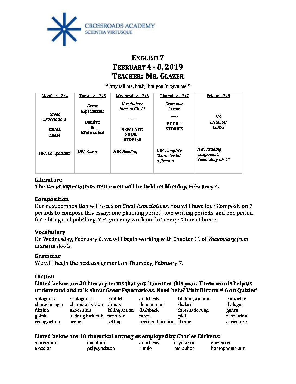 English 7, Feb 4 - 8 - Crossroads Academy